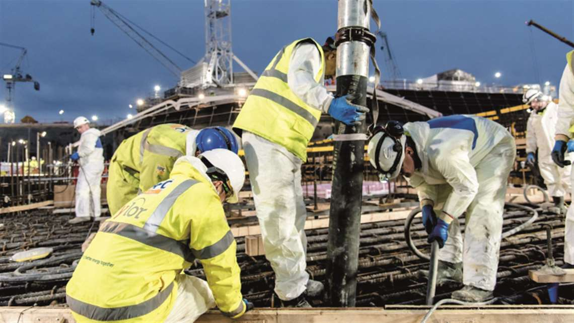 EDF Energy workers undertake a major concrete pour at the UK's Hinkley Point C